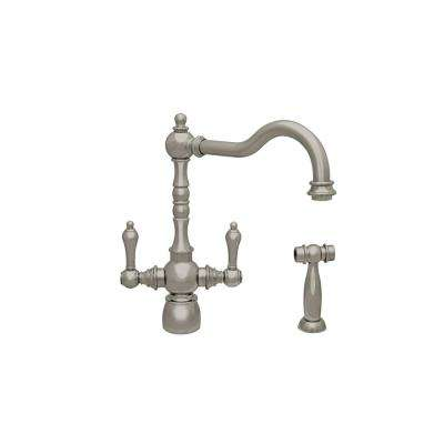 Englishhaus 2-Handle Standard Kitchen Faucet with Side Spray in Brushed Nickel