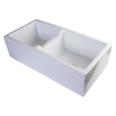 Smooth Farmhouse Apron Fireclay 36 in. Double Basin Kitchen Sink in White