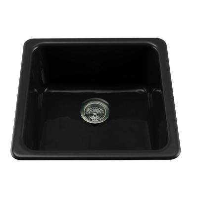 Dual Mount Cast-Iron 21 in. Single Basin Kitchen Sink in Black Black