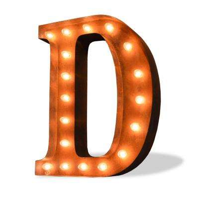 Modern American 24 in. High Rusted Steel Alphabet Letter D Plug-In Marquee Lights