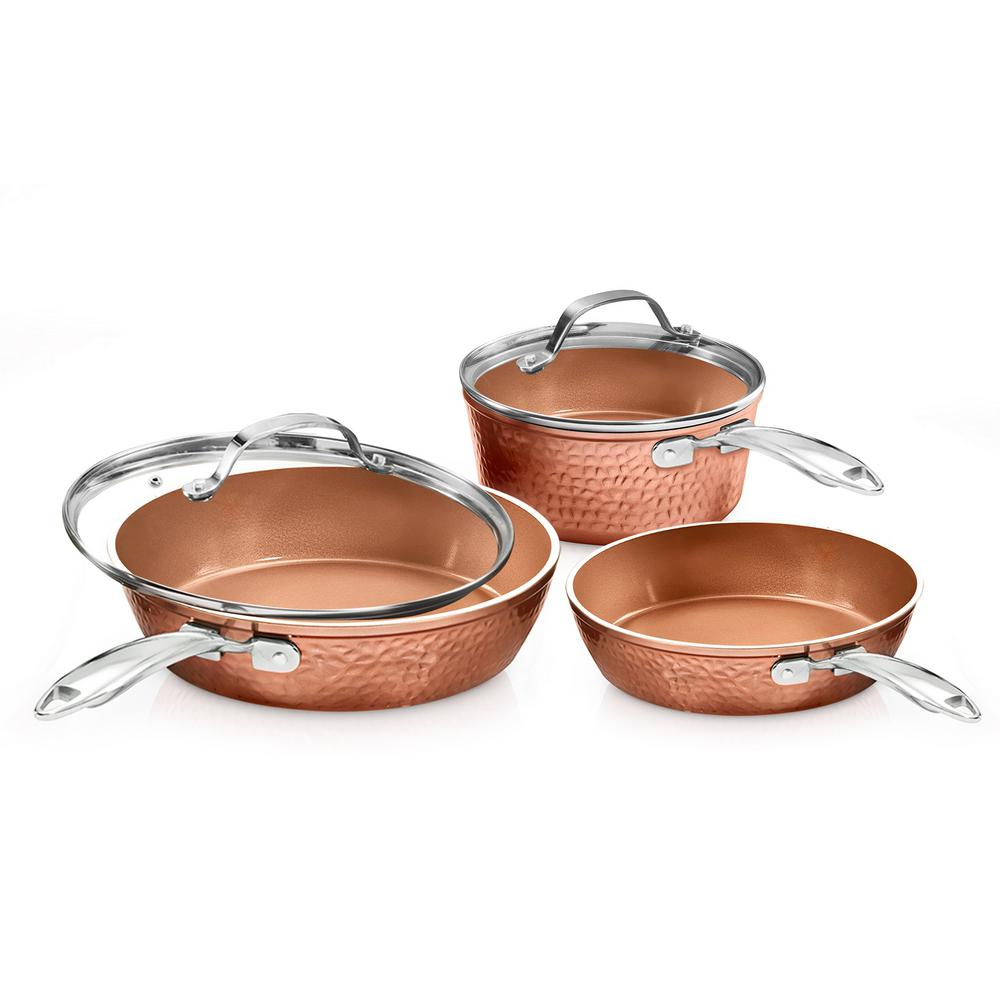Hammered Copper 5-Piece Aluminum Non-Stick Cookware Set with Glass Lids