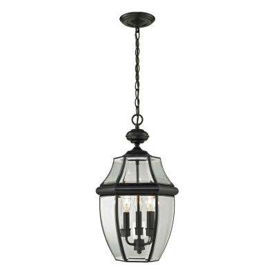 Ashford 3-Light Black Outdoor Pendant
