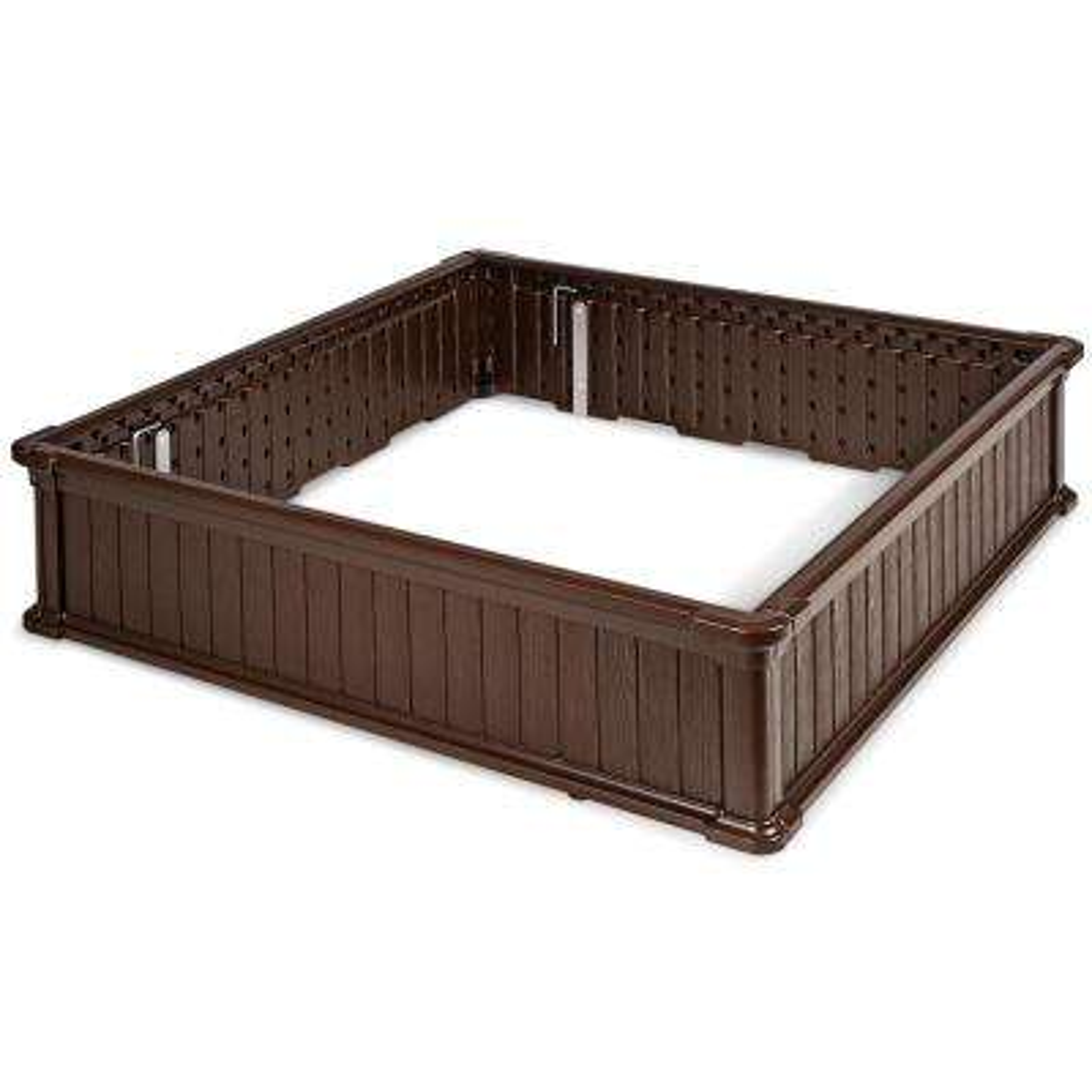 48.5 in. Brown Plastic Square Plant Box Planter Raised Garden Bed