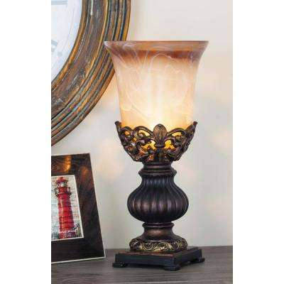 8 in. x 18 in. Rustic Elegance Brown Polystone and Gold Glass Candle Home Decor