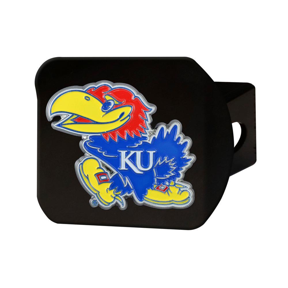 NCAA University of Kansas Color Emblem on Black Hitch Cover