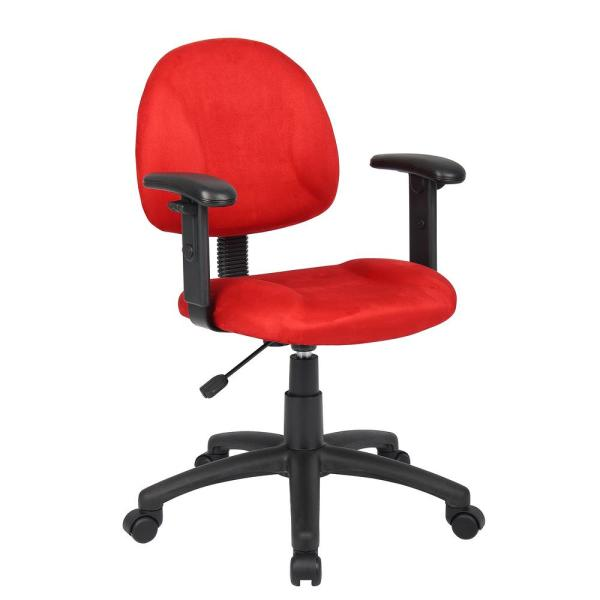 Boss Red Microfiber Deluxe Posture Chair with Adjustable Arms B326-RD