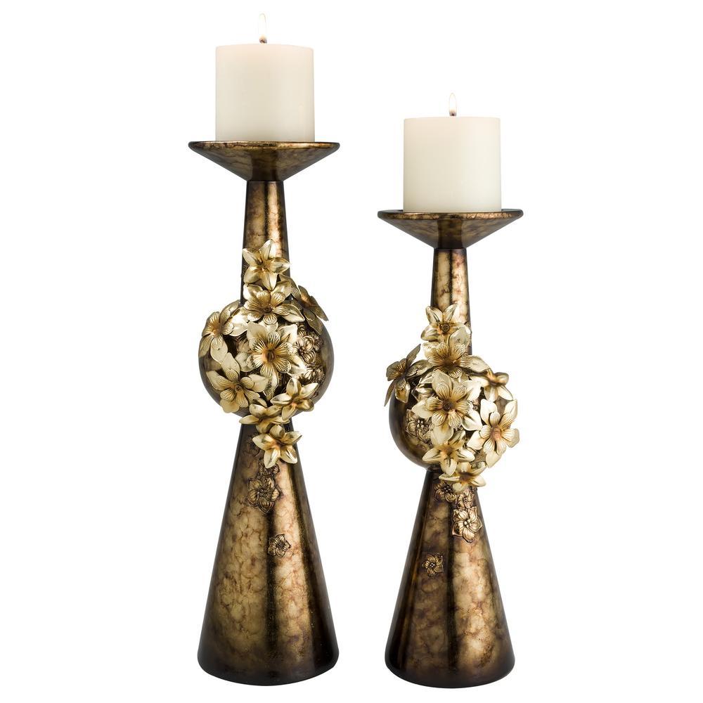 OK LIGHTING Bronze Virgo Orchid Polyresin Candleholders (Set of 2) was $119.18 now $77.46 (35.0% off)