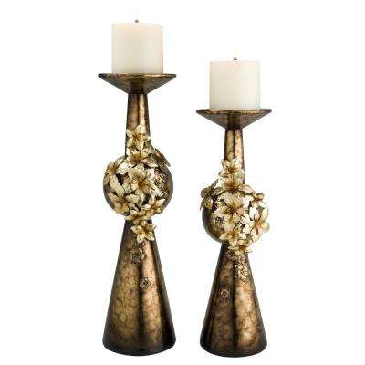 Bronze Virgo Orchid Polyresin Candleholders (Set of 2)