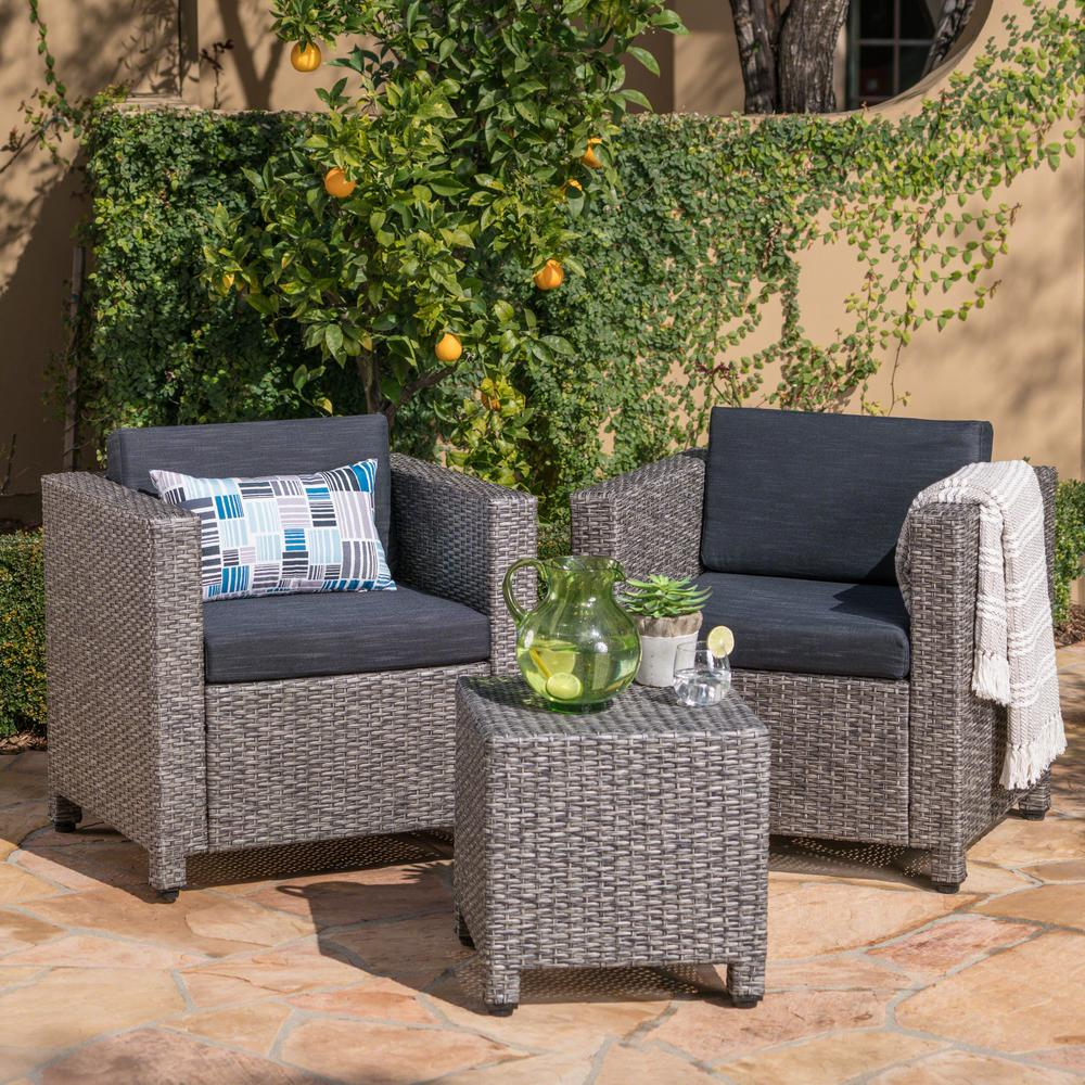 Noble House 3-Piece Wicker Patio Conversation Set with ...
