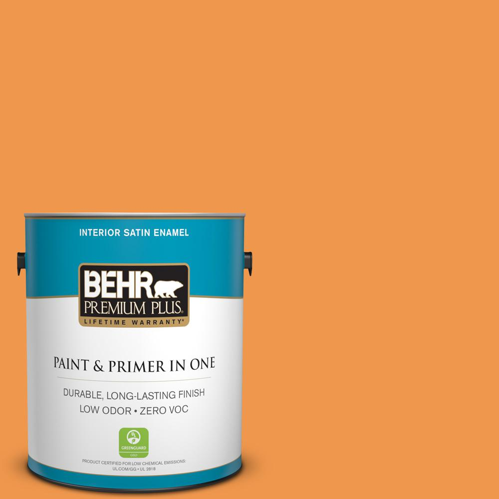 1-gal. #270B-6 Autumn Orange Zero VOC Satin Enamel Interior Paint