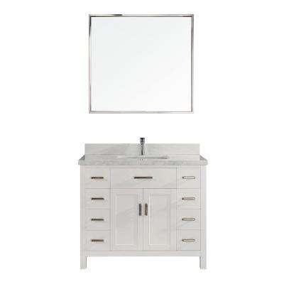 Kalize II 42 in. W x 22 in. D Vanity in White with Engineered Vanity Top in White with White Basin and Mirror