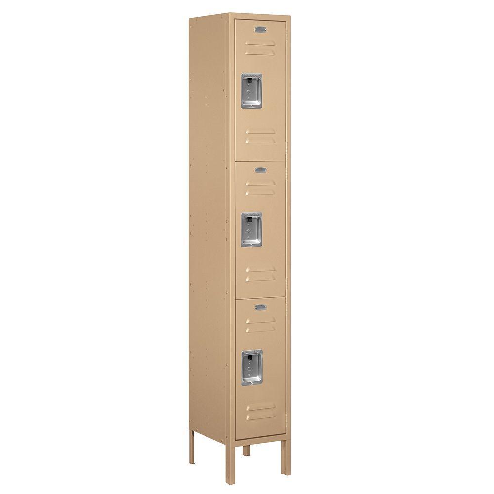 Salsbury Industries 63000 Series 12 in. W x 78 in. H x 12 in. D - Triple Tier Metal Locker Assembled in Tan