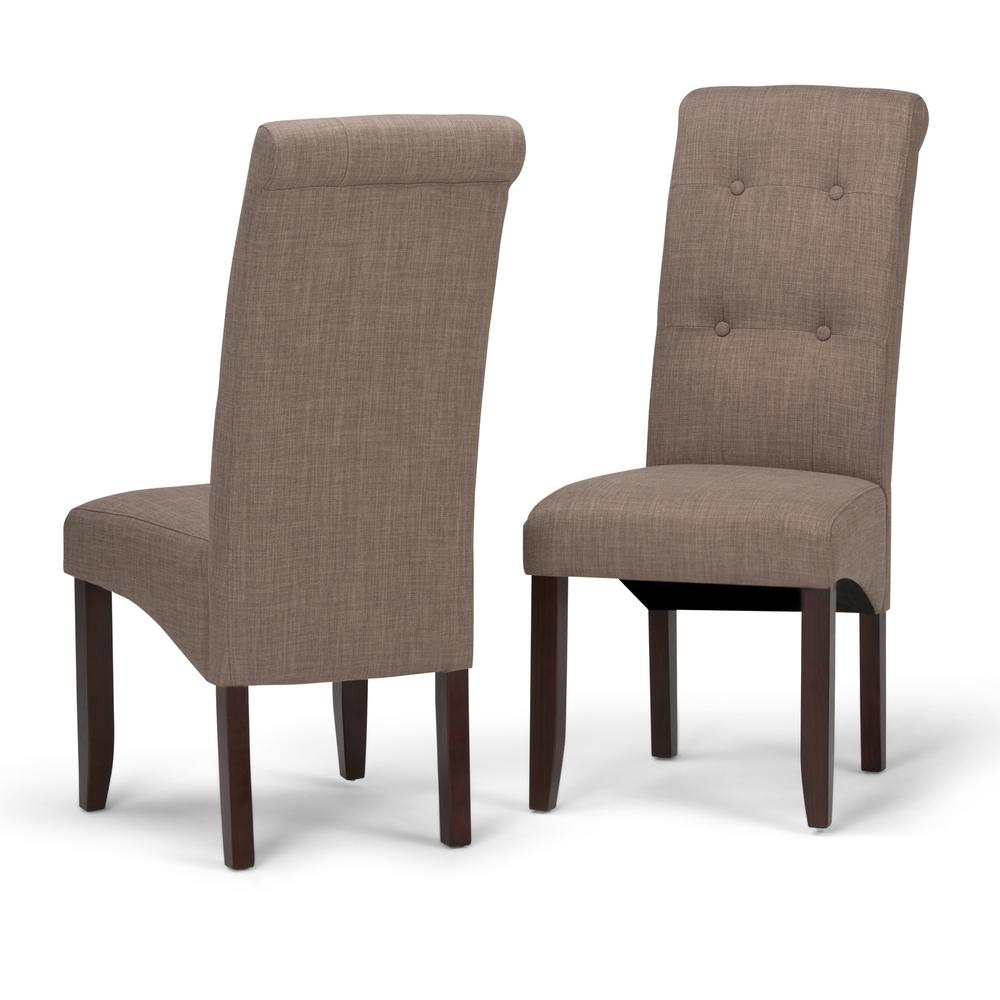 simpli home cosmopolitan light mocha parsons dining chair set of 2 - Parsons Dining Chairs