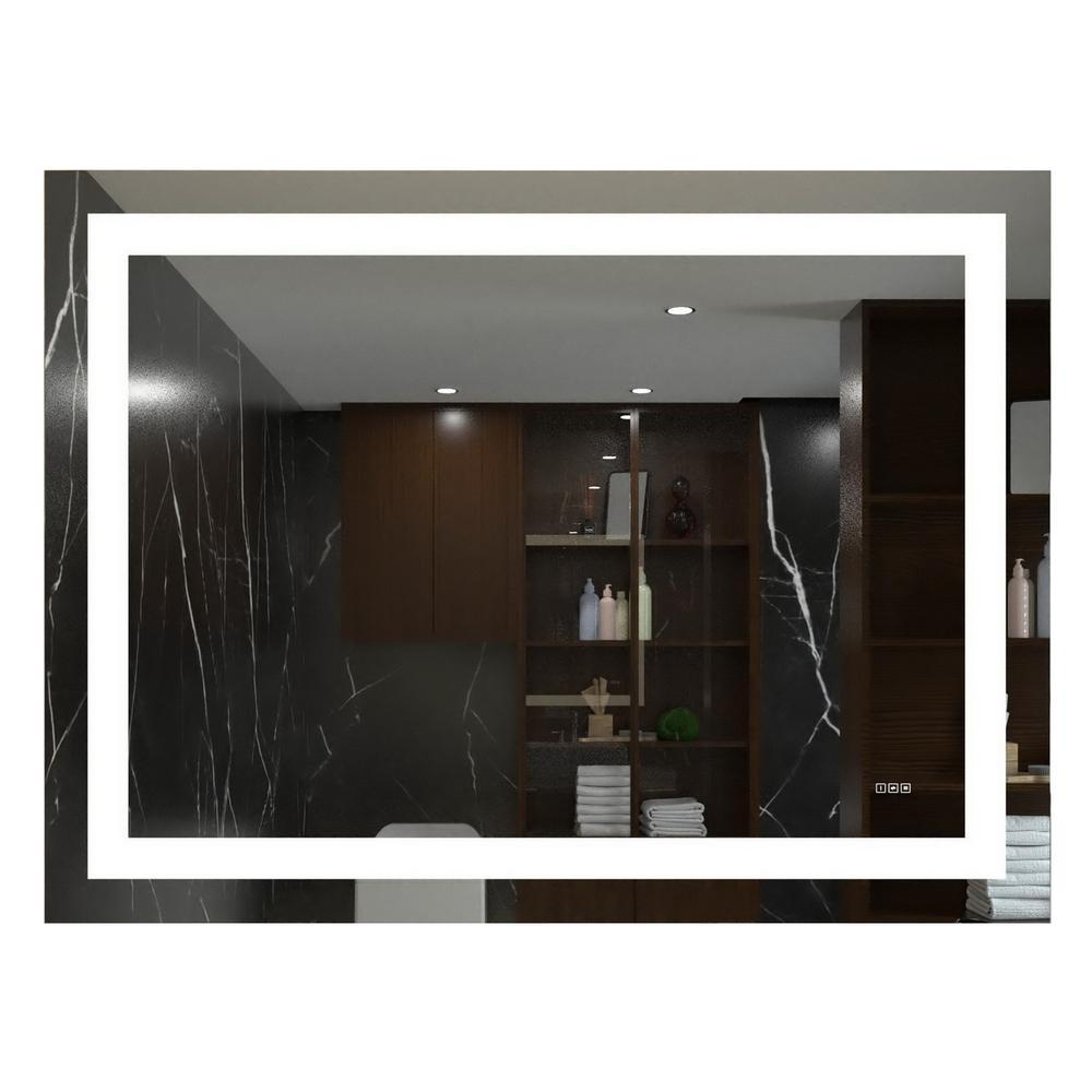 48 in. W x 36 in. H Frameless Rectangular LED Light Bathroom Vanity Mirror