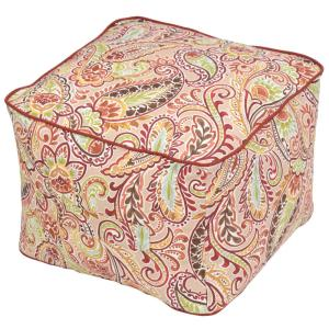 Chili Paisley Square Outdoor Pouf with Handle