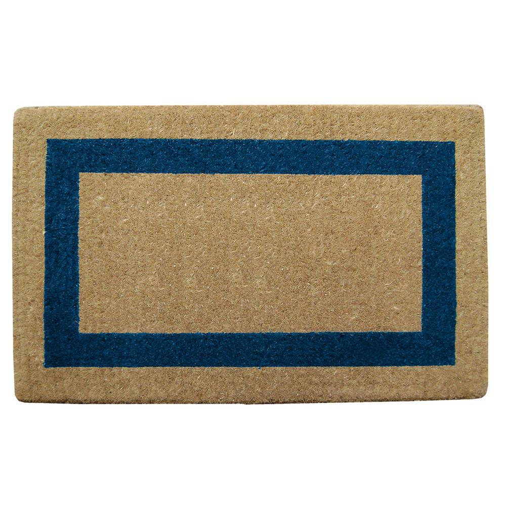 Single Picture Frame Blue 22 in. x 36 in. Coir Door Mat