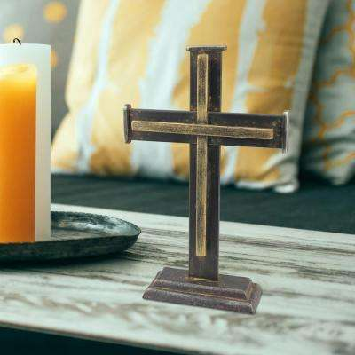 6.5 in. x 10 in. Graphite Metal Pedestal Cross with Brass Trim