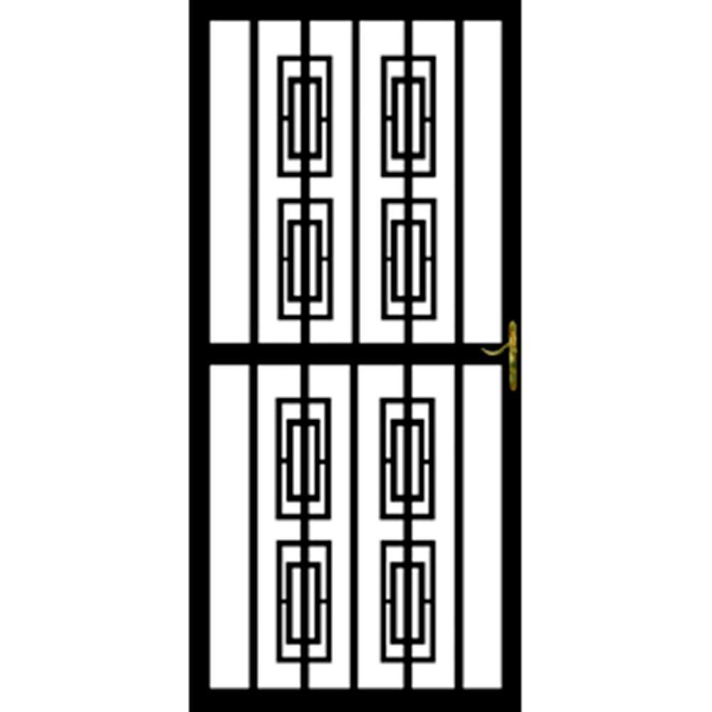 32 in. x 80 in. 312 Series Black Modern Security Door