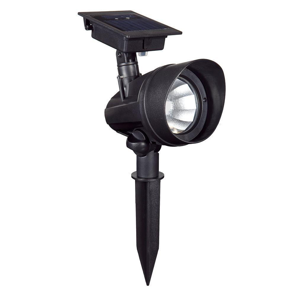 Solar Powered Black Outdoor LED Spot Light (6-Pack)