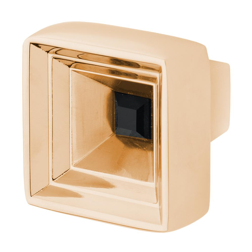 Hidden Treasure 1-1/16 in. Polished Gold with Black Crystal Cabinet Knob