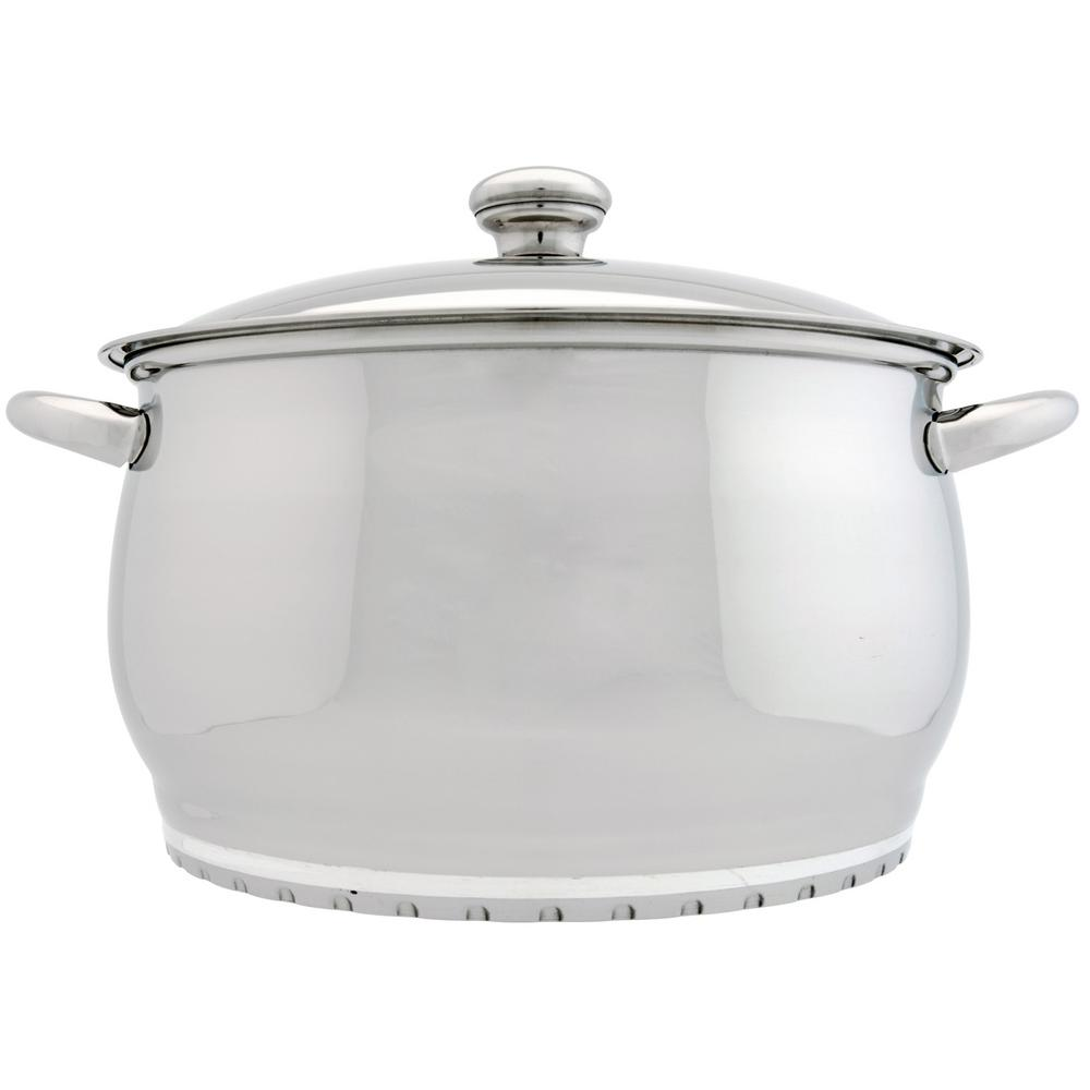 berghoff zeno 7 qt 18 10 stainless steel stock pot with lid 1101132 the home depot. Black Bedroom Furniture Sets. Home Design Ideas
