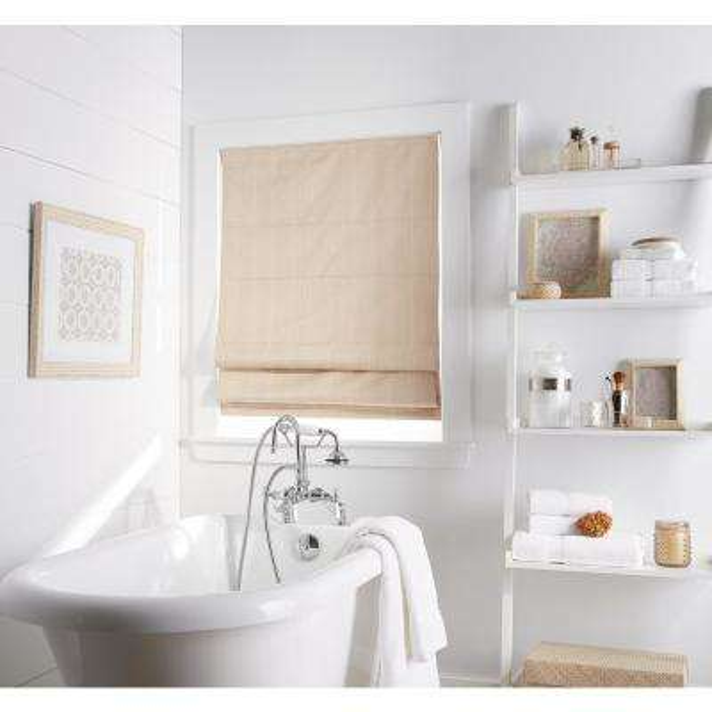 Cut to Width Jolie Linen Room Darkening Cordless Roman Shade 34 in. W x 64 in. L