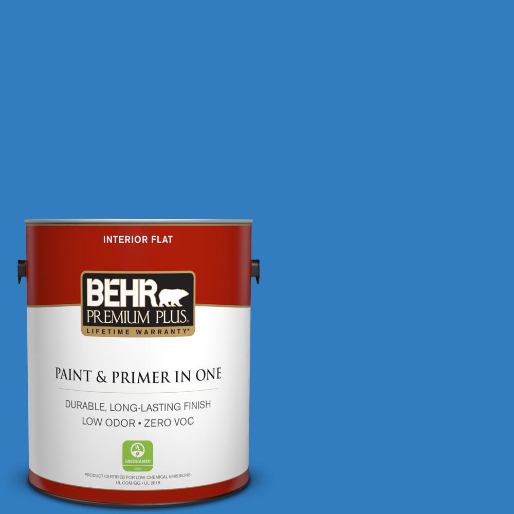 BEHR Premium Plus 1-gal. #P510-6 Brilliant Blue Flat Interior Paint