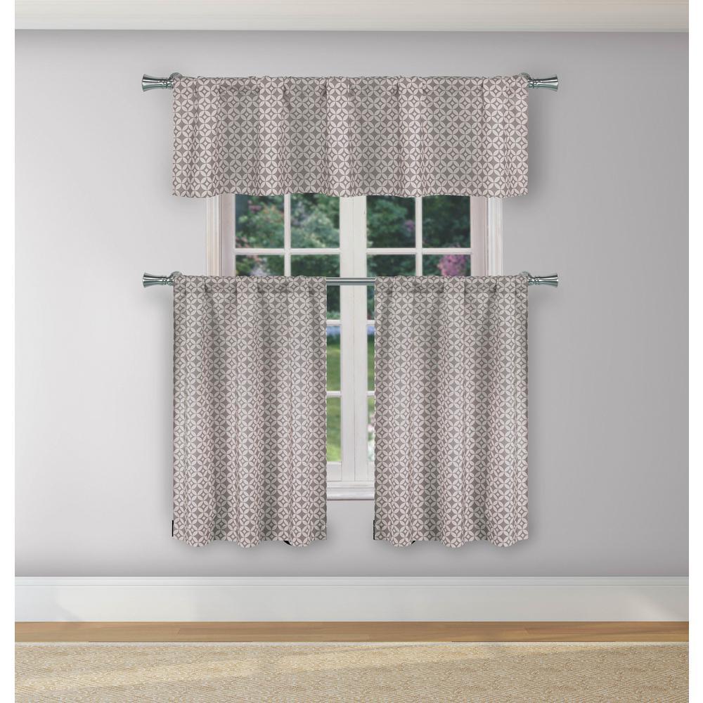Enyo Grey Room Darkening Kitchen Curtain Set - 29 in. W x 36 in. L (3-Piece)