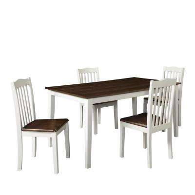 Shiloh 5-Piece Creamy White / Rustic Mahogany Dining Set