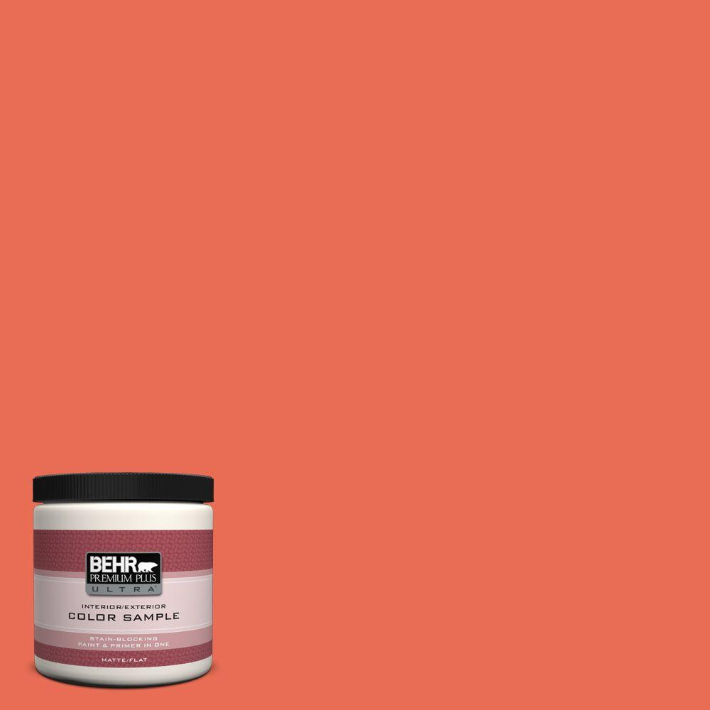 BEHR Premium Plus Ultra 8 oz. #190B-6 Wet Coral Flat Interior/Exterior Paint and Primer in One Sample