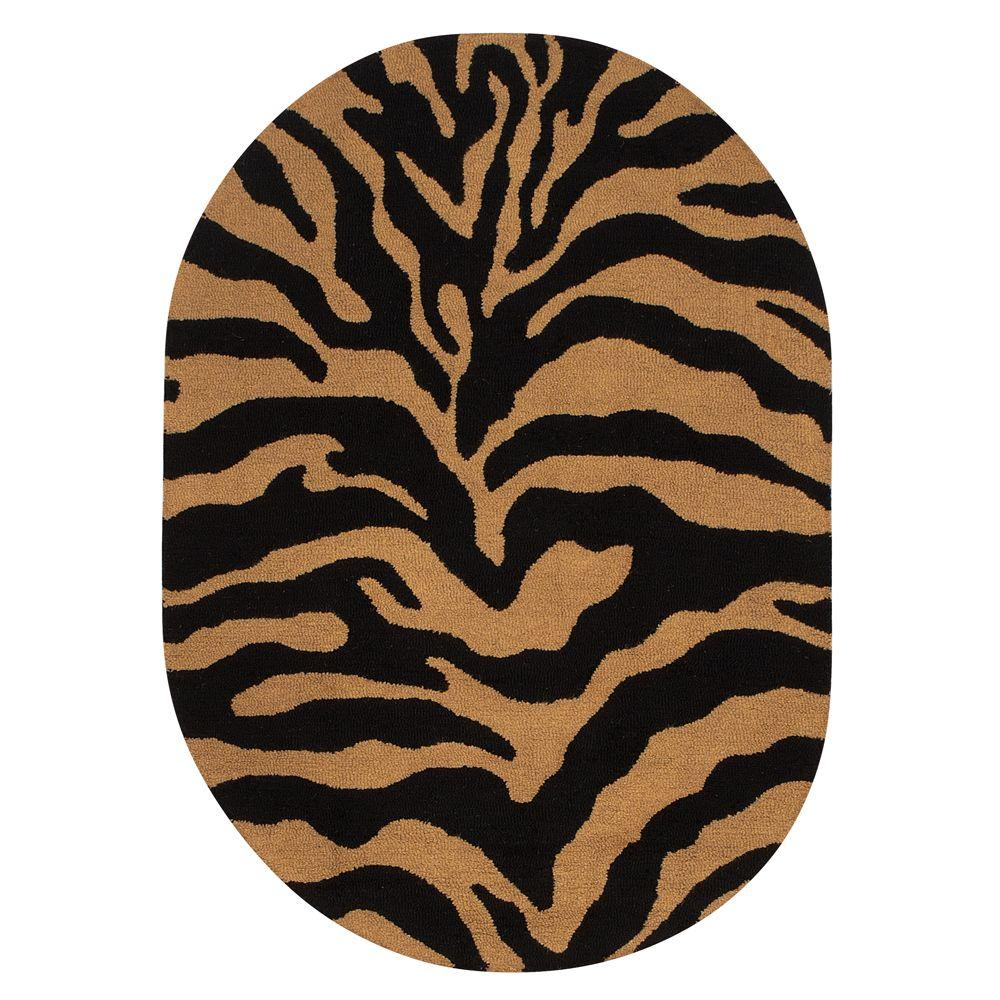 Home Decorators Collection Trek Gold/Black 4 ft. 6 in. x 6 ft. 6 in. Oval Area Rug