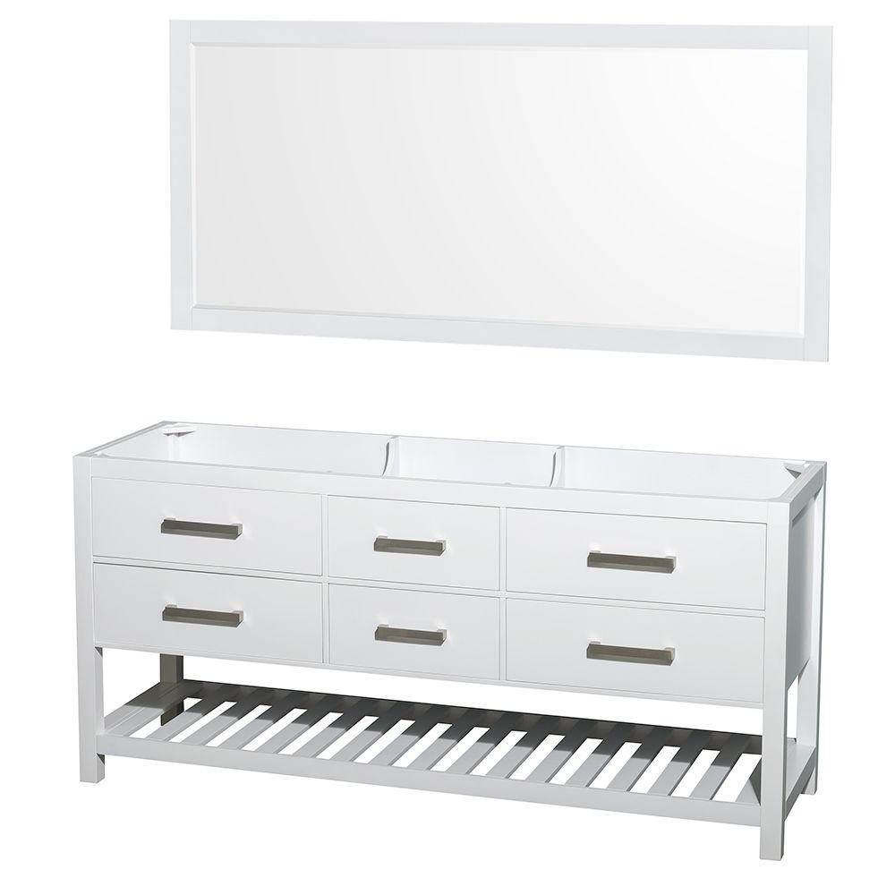 70 inch mirror illuminated led double vanity cabinet with 70 in mirror in white wyndham collection natalie 72