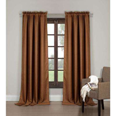Semi-Opaque Saratoga 84 in. L Poly-Cotton Pole Top Back Tab Panel in Natural (2-Pack)