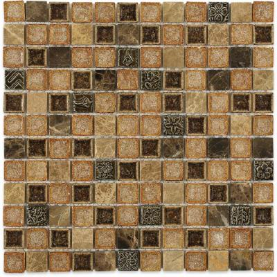 Roman Selection Mocha Squares 11-3/4 in. x 11-3/4 in. x 8mm Polished Glass Mosaic Tile
