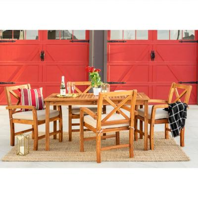 5-Piece Brown Outdoor Acacia Wood Patio Dining Set with White Cushion