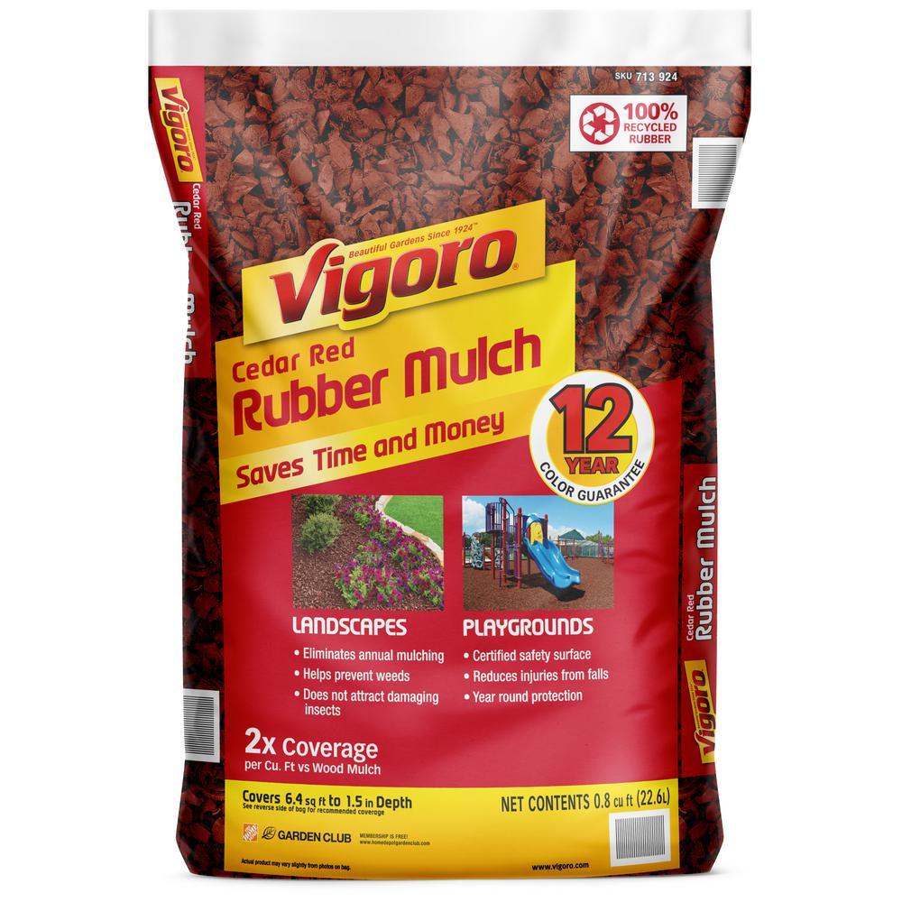 0.8 cu. ft. Cedar Red Bagged Rubber Mulch