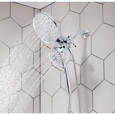Attract with Magnetix 6-spray 6.75 in. Dual Shower Head and Adjustable Handheld in Chrome