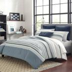 Lansier 3-Piece Gray Striped Cotton King Duvet Cover Set