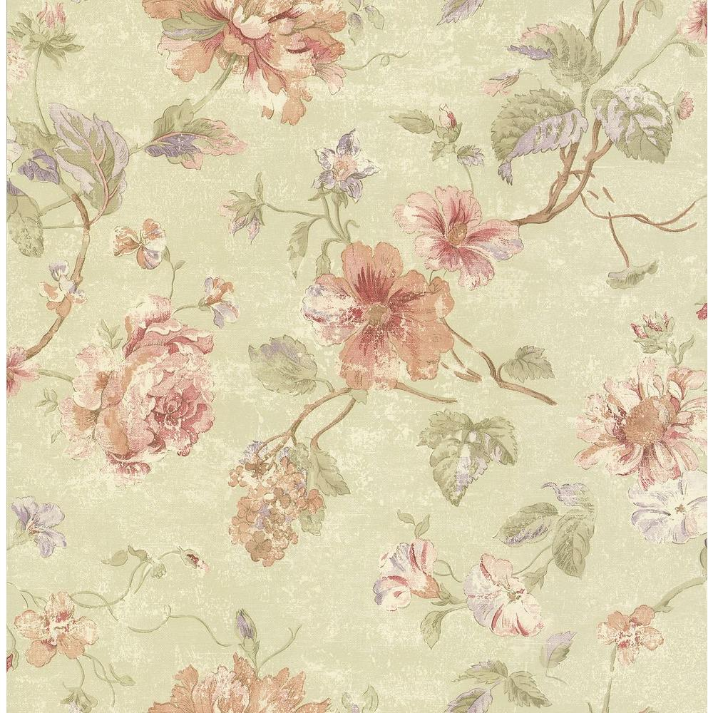 Brewster Madison Green Rose Floral Wallpaper Sample