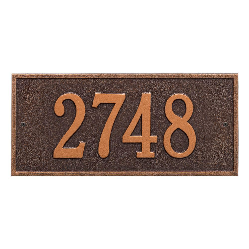 Hartford Rectangular Antique Copper Standard Wall 1-Line Address Plaque