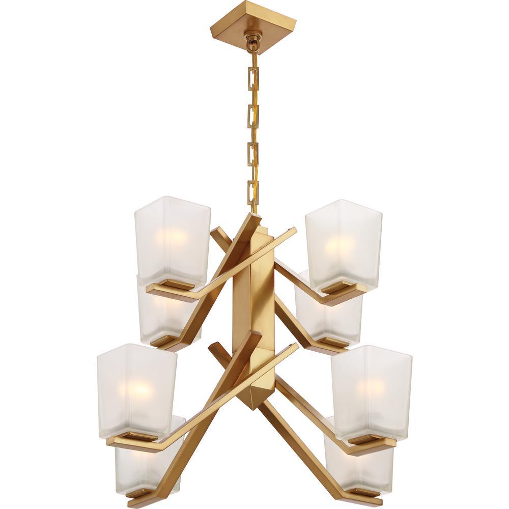 Filament Design 8 Light Vintage Brass Chandelier With Sandstone Etched  Glass Shade