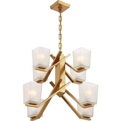 8-Light Vintage Brass Chandelier with Sandstone Etched Glass Shade