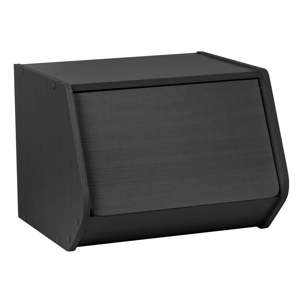TACHI Modular Black Wood Stacking Storage Box with Door