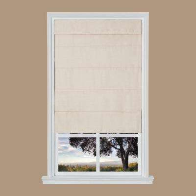 Tan Faux Silk Cordless Fabric Roman Shade - 35 in. W x 64 in. L