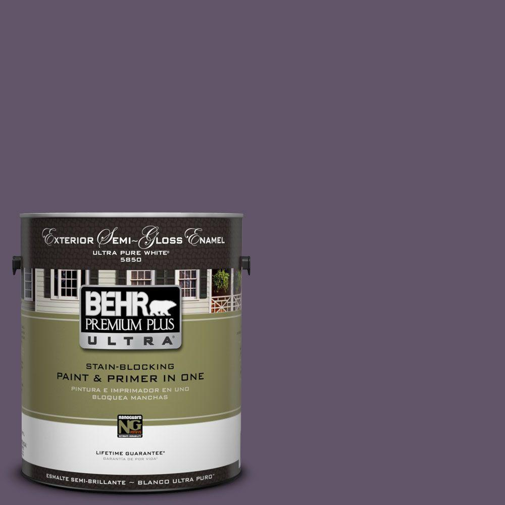 BEHR Premium Plus Ultra 1-Gal. #UL250-21 Darkest Grape Semi-Gloss Enamel Exterior Paint