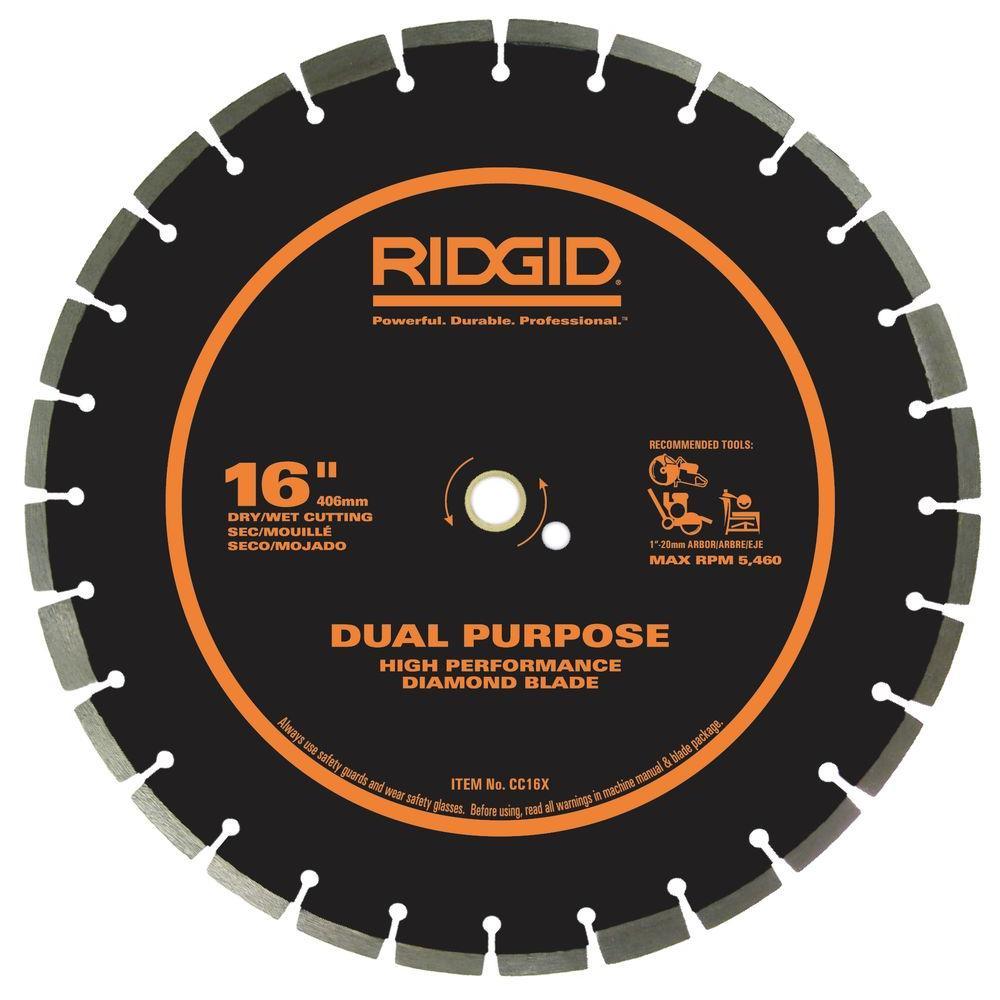 RIDGID 16 in. Dual-Purpose Walk-Behind Saw Diamond Blade