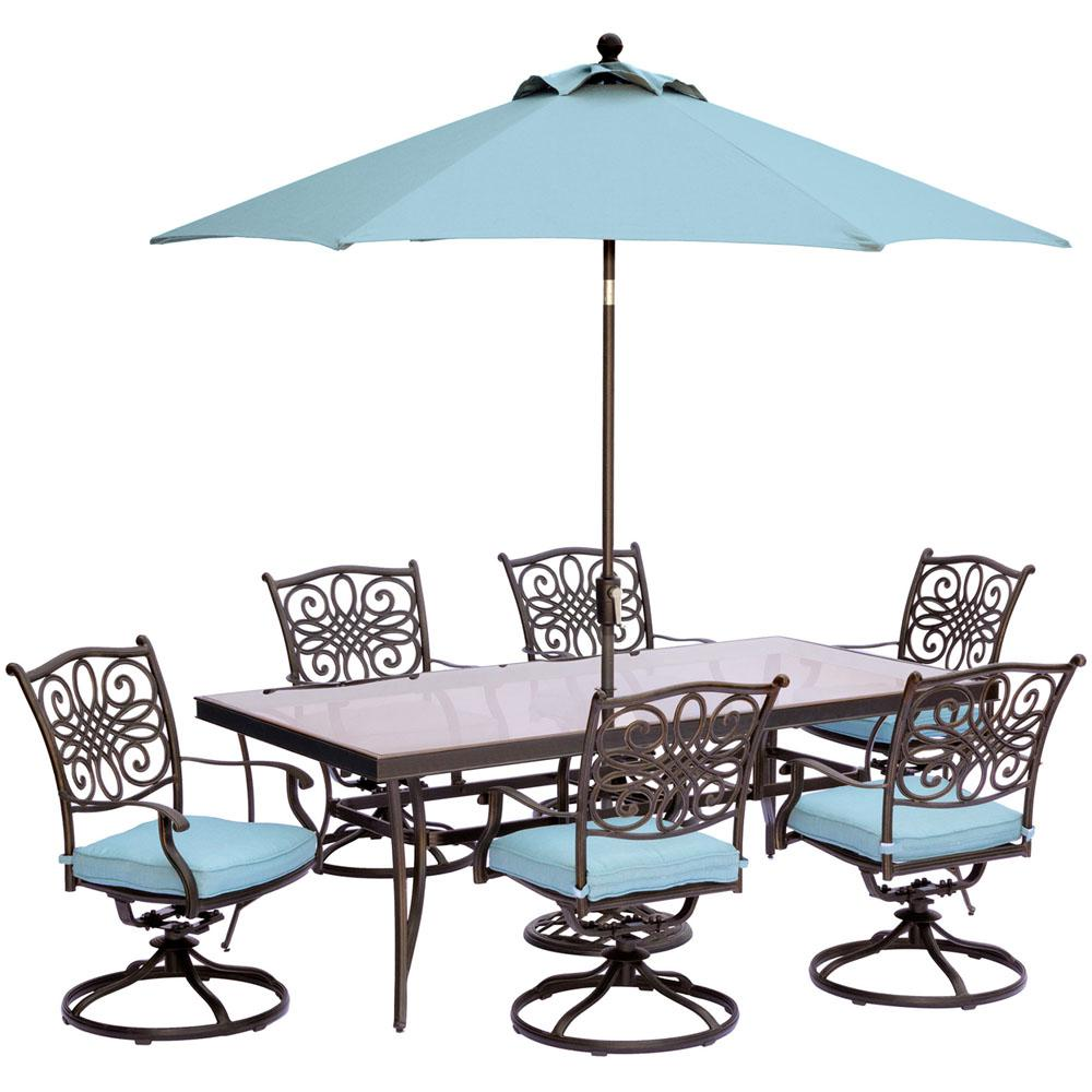 Hanover Traditions 7 Piece Outdoor Dining Set With