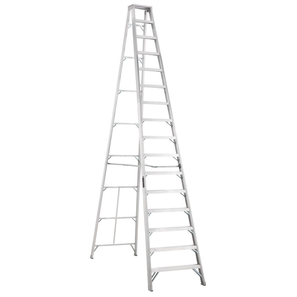 Louisville Ladder 16 Ft Aluminum Step Ladder With 300 Lbs Load Capacity Type Ia Duty Rating As1016 The Home Depot