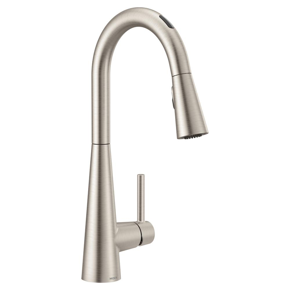 Moen U By Moen Sleek Single Handle Pull Down Sprayer Smart Kitchen Faucet With Voice Control In Spot Resist Stainless 7864evsrs The Home Depot