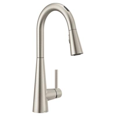 U by Moen Sleek Single-Handle Pull-Down Sprayer Smart Kitchen Faucet with Voice Control in Spot Resist Stainless